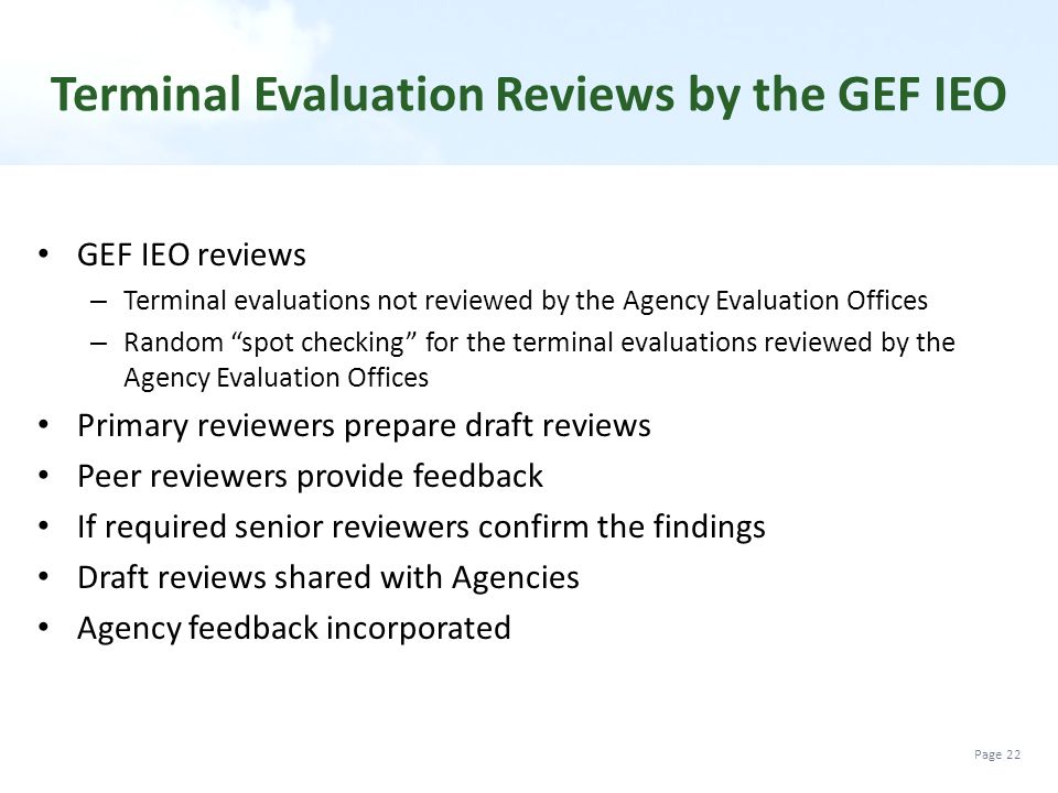 Terminal Evaluation Reviews by the GEF IEO