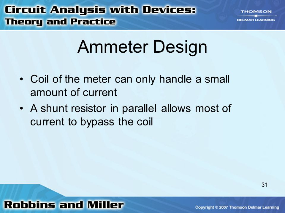 Ammeter Design Coil of the meter can only handle a small amount of current.
