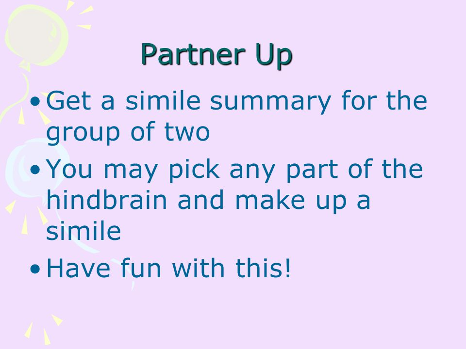 Partner Up Get a simile summary for the group of two