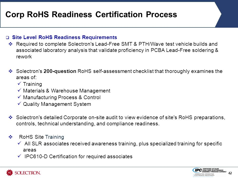 Certification For Rohs Lead Free Electronics Assembly Process