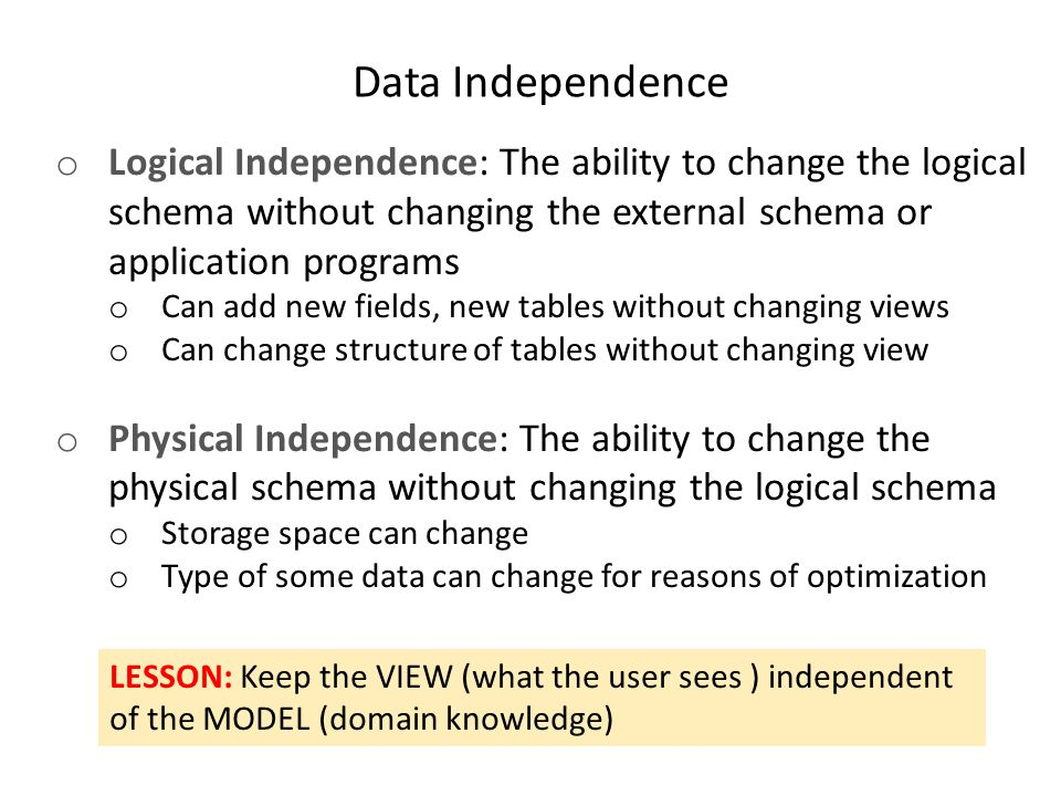 Data Independence Logical Independence: The ability to change the logical. schema without changing the external schema or application programs.