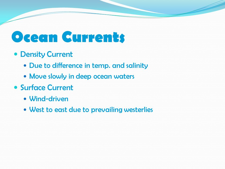 Ocean Currents Density Current Surface Current