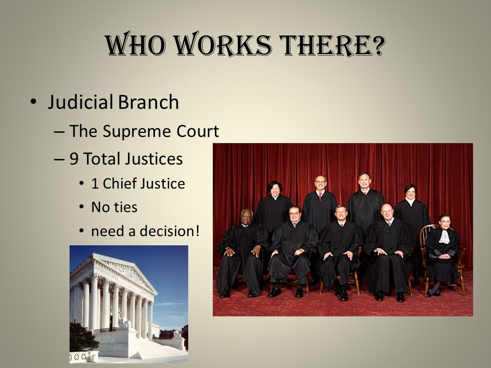 Who Works There Judicial Branch The Supreme Court 9 Total Justices