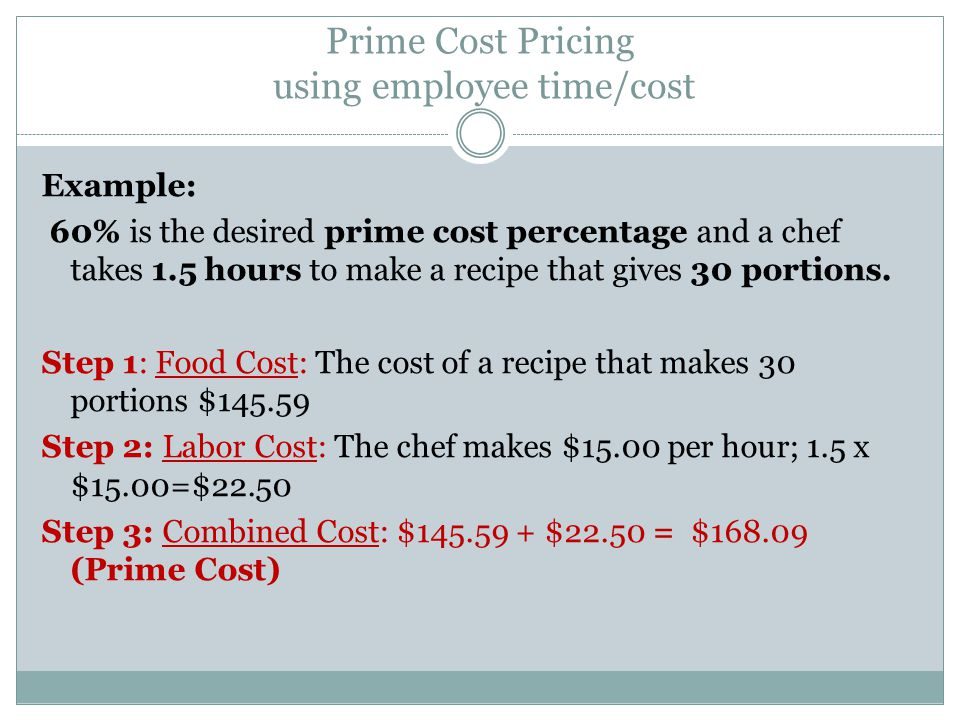 Prime Cost Pricing using employee time/cost