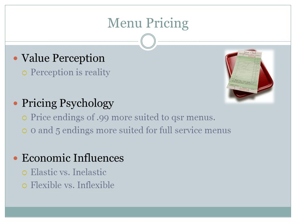 Menu Pricing Value Perception Pricing Psychology Economic Influences
