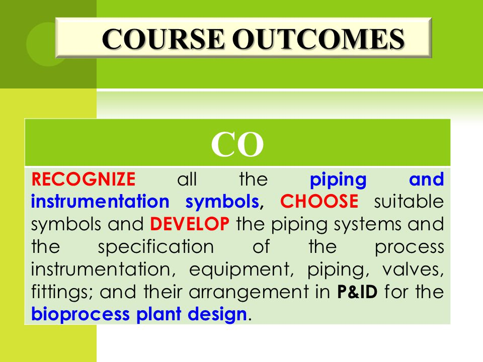 COURSE OUTCOMES CO.