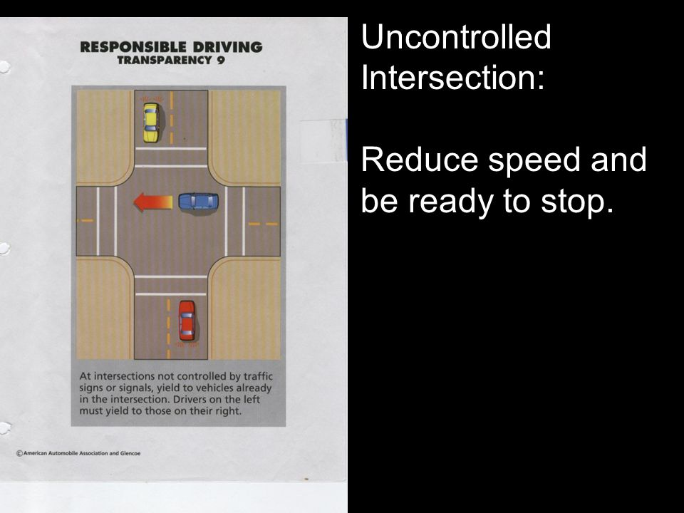 Uncontrolled Intersection: Reduce speed and be ready to stop.