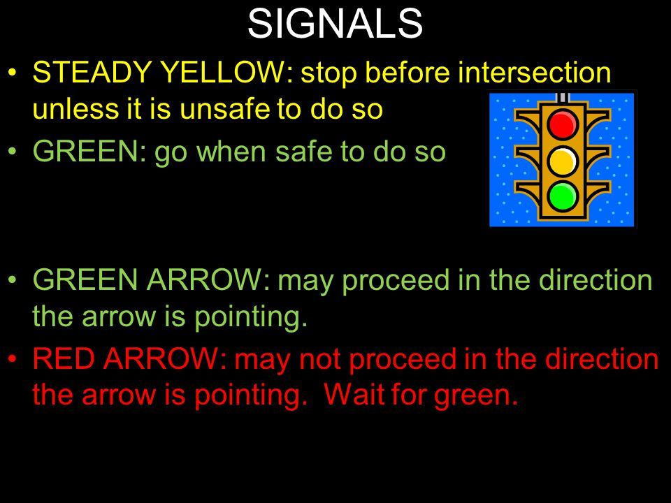SIGNALS STEADY YELLOW: stop before intersection unless it is unsafe to do so. GREEN: go when safe to do so.