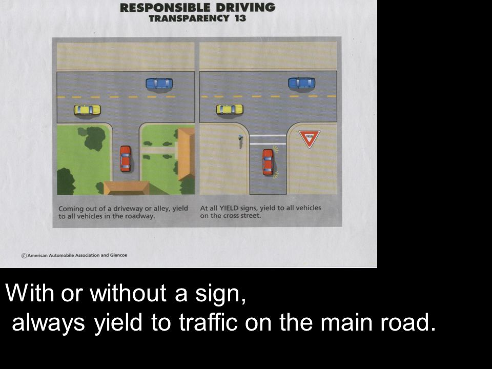 With or without a sign, always yield to traffic on the main road.