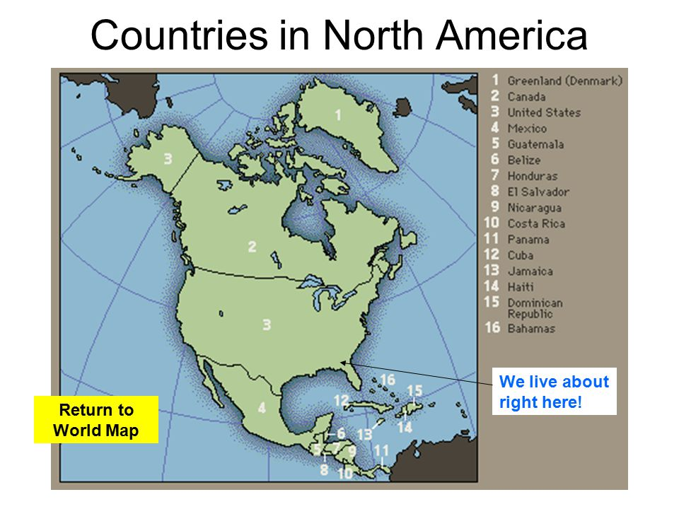 Learning about the earth ppt video online download return to world map countries in north america gumiabroncs Images