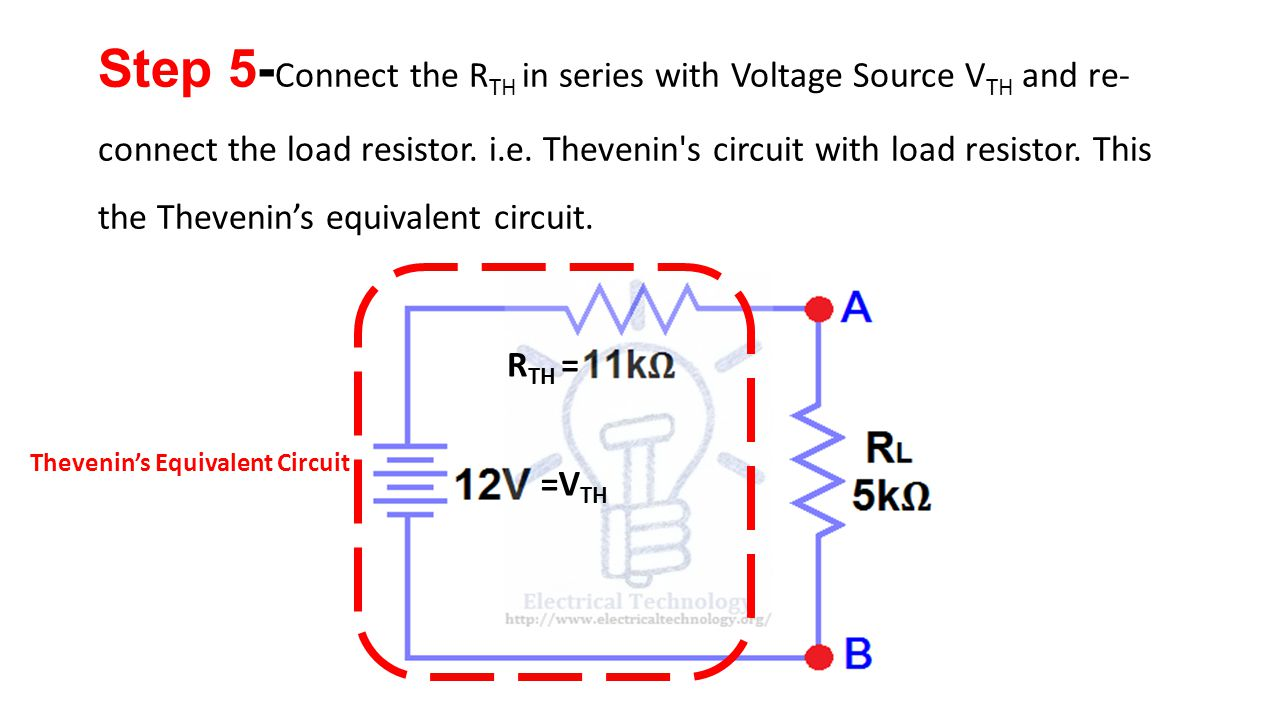 Chapter 2 Network Theorems Ppt Video Online Download Ac Thevenin Equivalent Circuit With Current And Voltage Source Rth Thevenins Vth Step 5 Connect The In Series Re