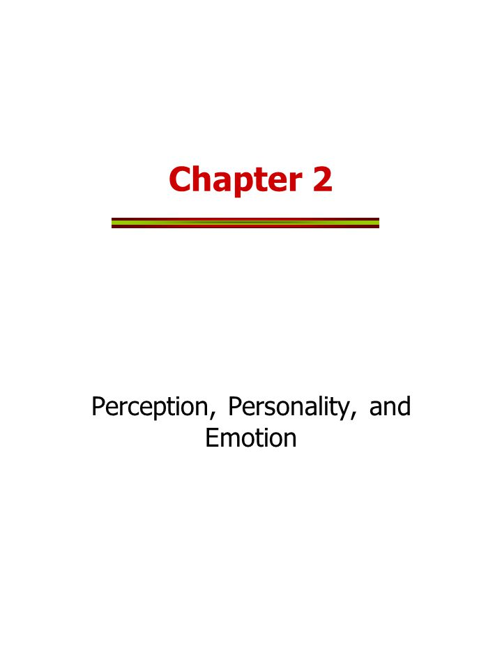 Perception, Personality, and Emotion