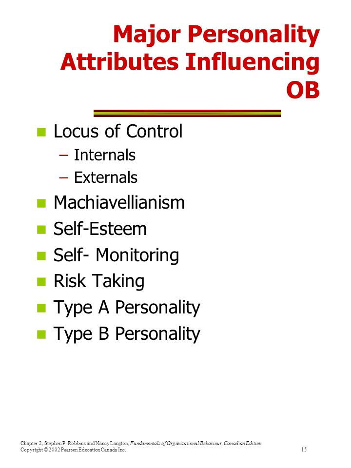Major Personality Attributes Influencing OB