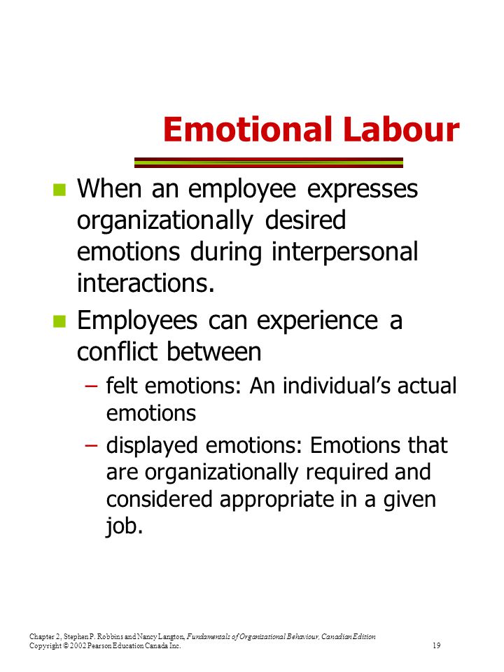 Emotional Labour When an employee expresses organizationally desired emotions during interpersonal interactions.