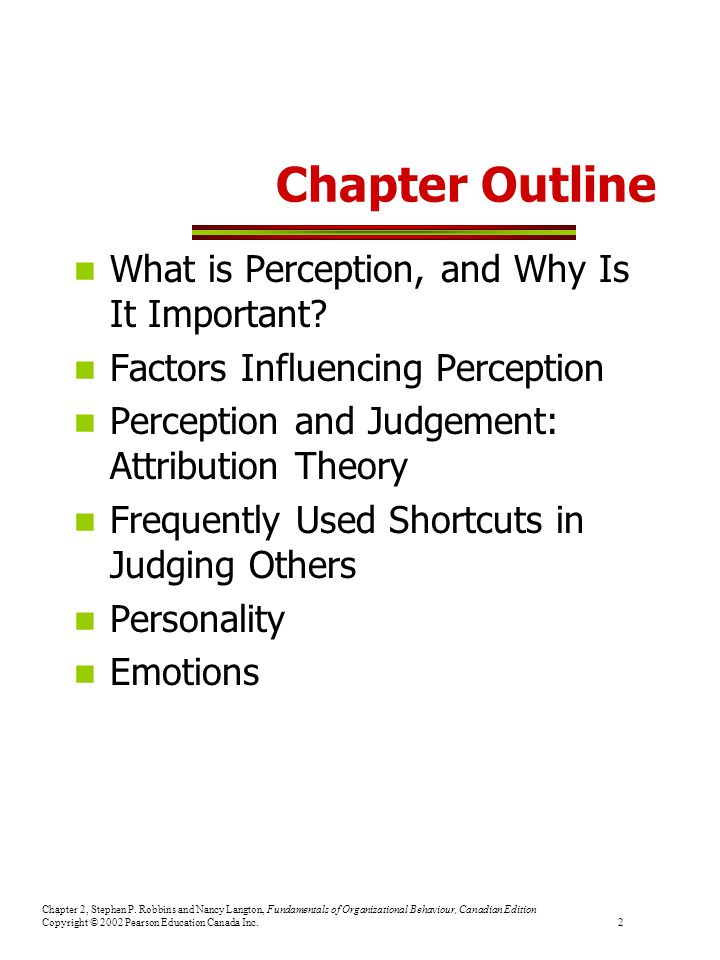 Chapter Outline What is Perception, and Why Is It Important