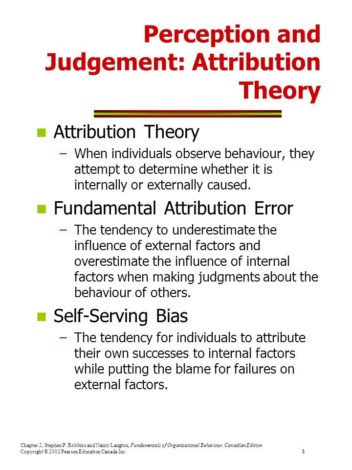 Perception and Judgement: Attribution Theory