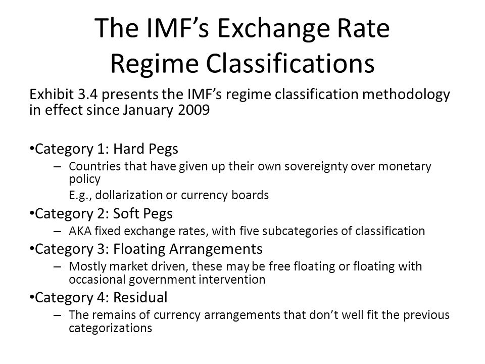 The IMF's Exchange Rate Regime Classifications