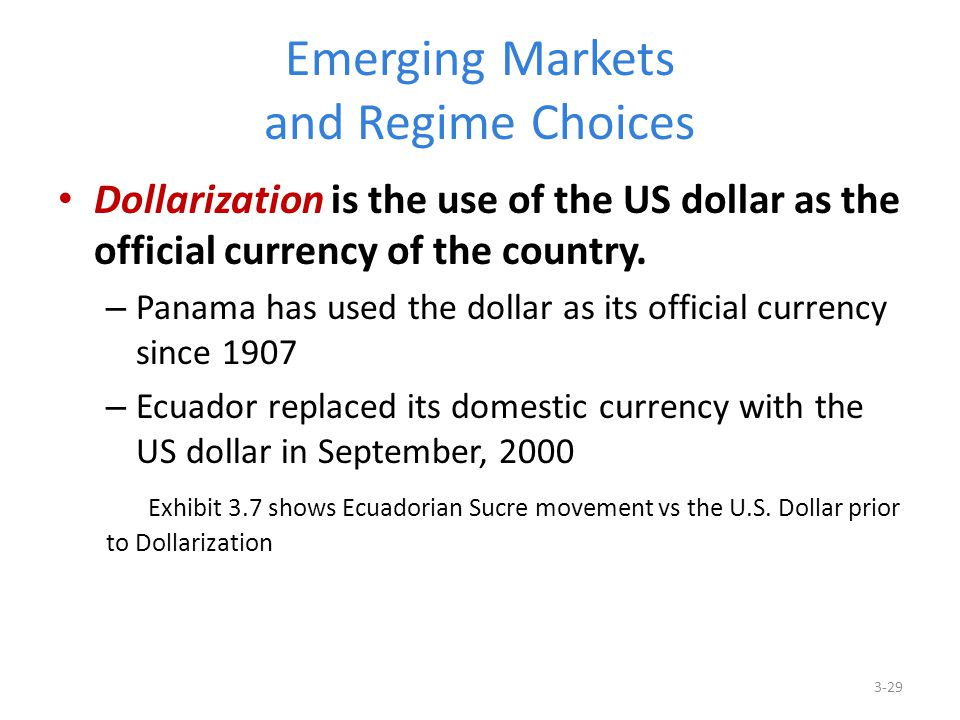 Emerging Markets and Regime Choices