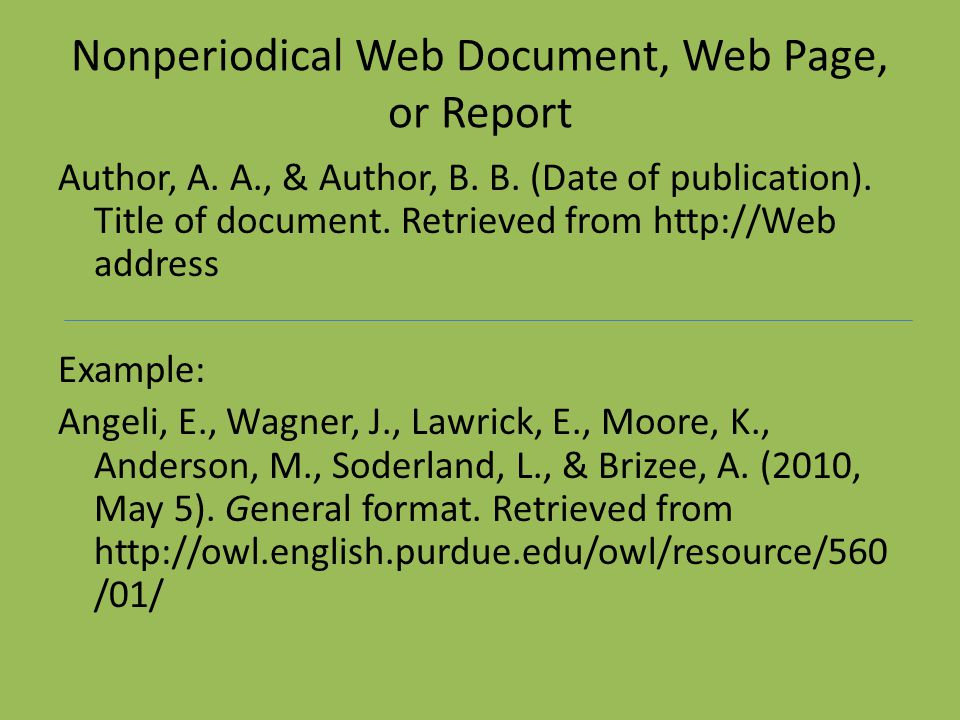Nonperiodical Web Document, Web Page, or Report