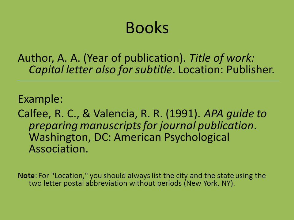 Books Author, A. A. (Year of publication). Title of work: Capital letter also for subtitle. Location: Publisher.