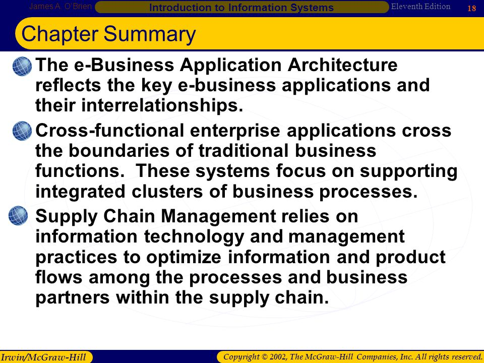 Chapter Summary The e-Business Application Architecture reflects the key e-business applications and their interrelationships.