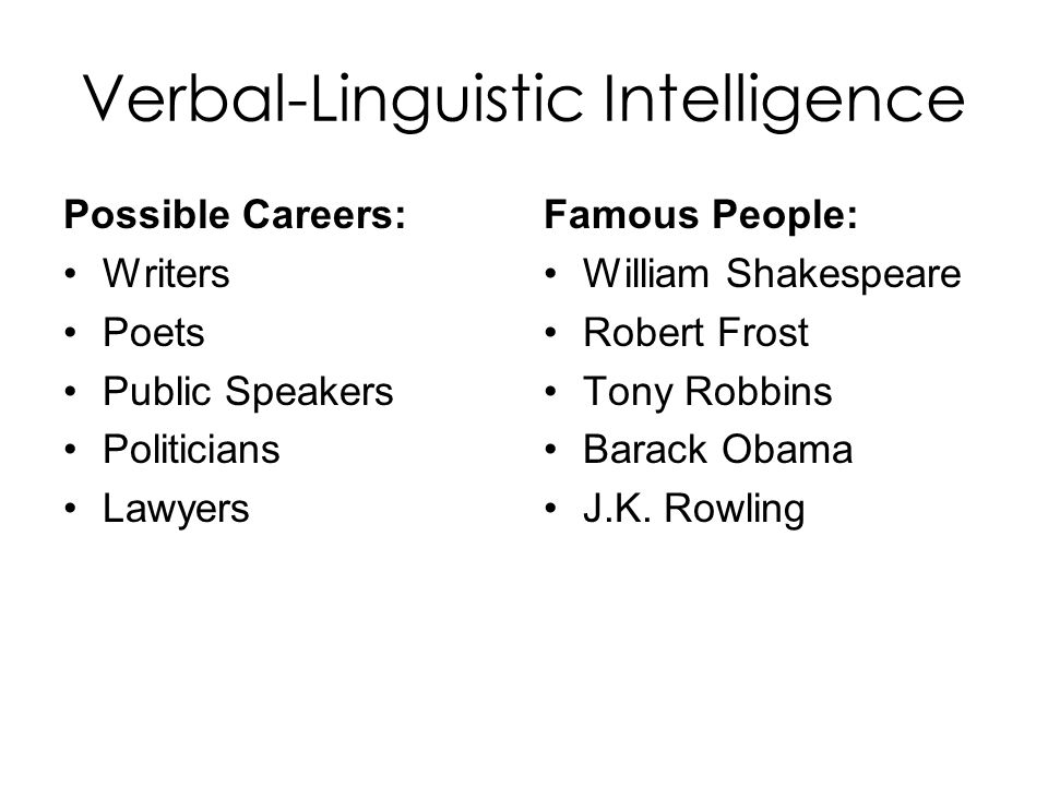 verbal and linguistic intelligence