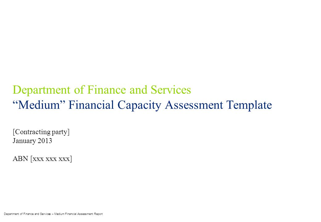 Department Of Finance And Services Ppt Download