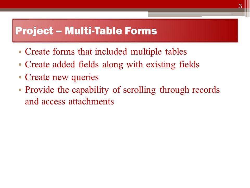 Multi-Table Forms Access – Lesson ppt video online download