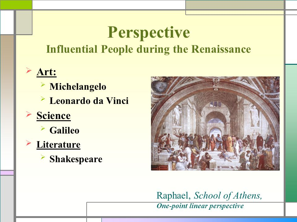 Perspective Influential People during the Renaissance