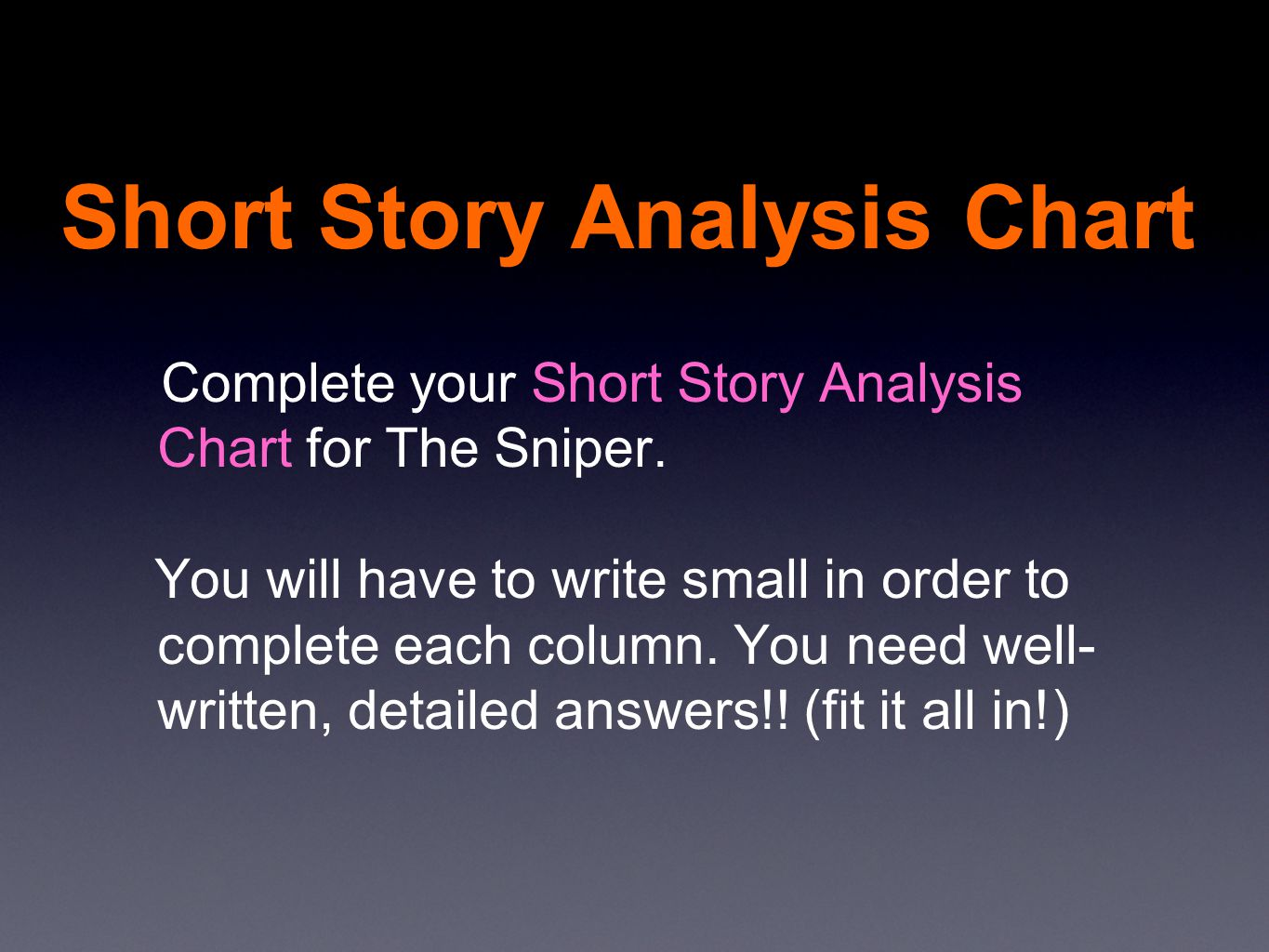 An Essay On English Language  Short Story Analysis Chart How To Write A High School Essay also Compare And Contrast Essay On High School And College A Short Story The Sniper By Liam Oflaherty  Ppt Video Online  A Thesis For An Essay Should
