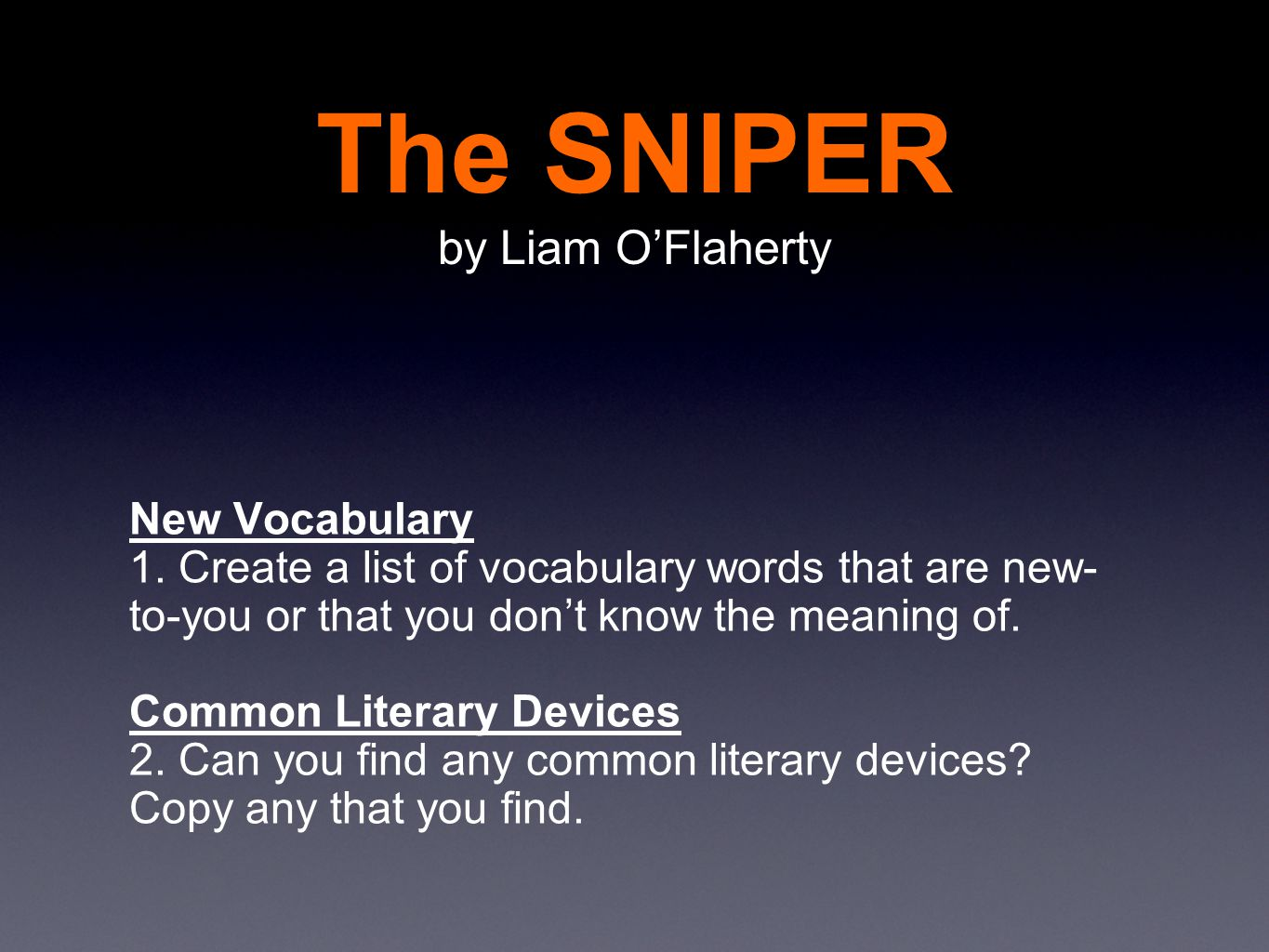 A Short Story    The SNIPER by Liam O'Flaherty - ppt video