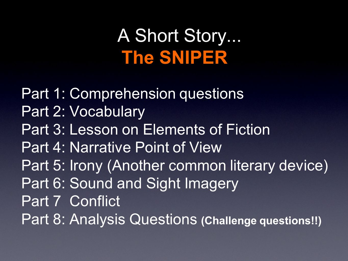 Argumentative Essay Sample High School  A  Research Proposal Essay also How Do I Write A Thesis Statement For An Essay A Short Story The Sniper By Liam Oflaherty  Ppt Video Online  Thesis Statement For Comparison Essay