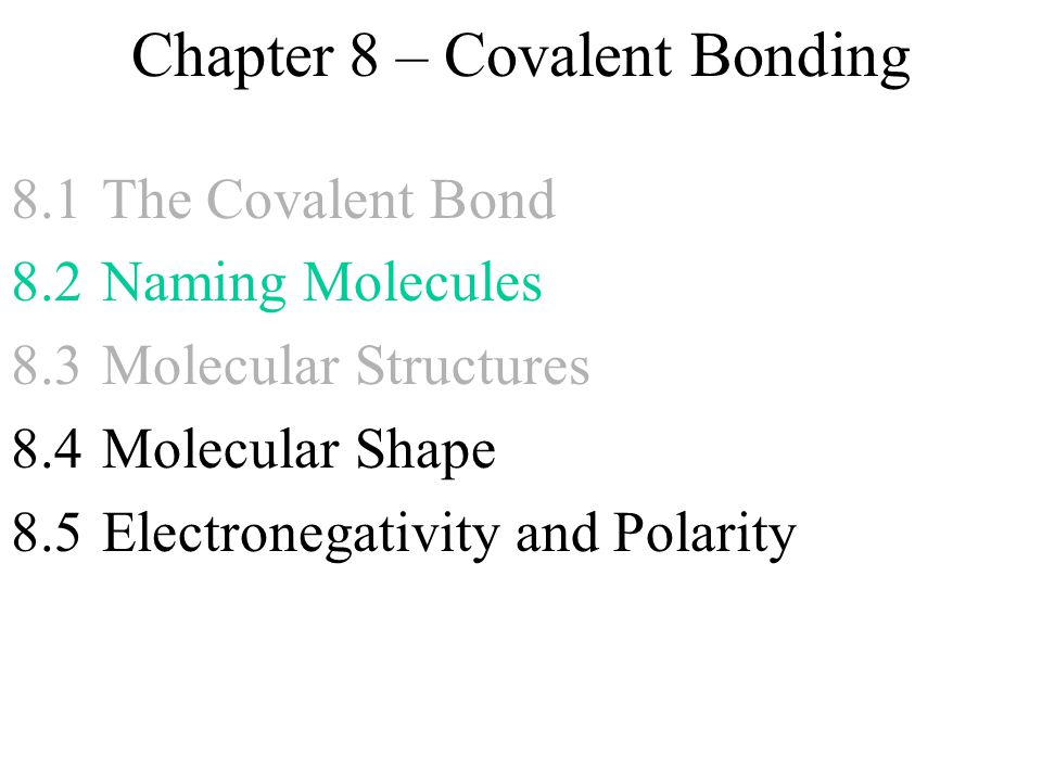 Chapter 8 Covalent Bonding Ppt Download