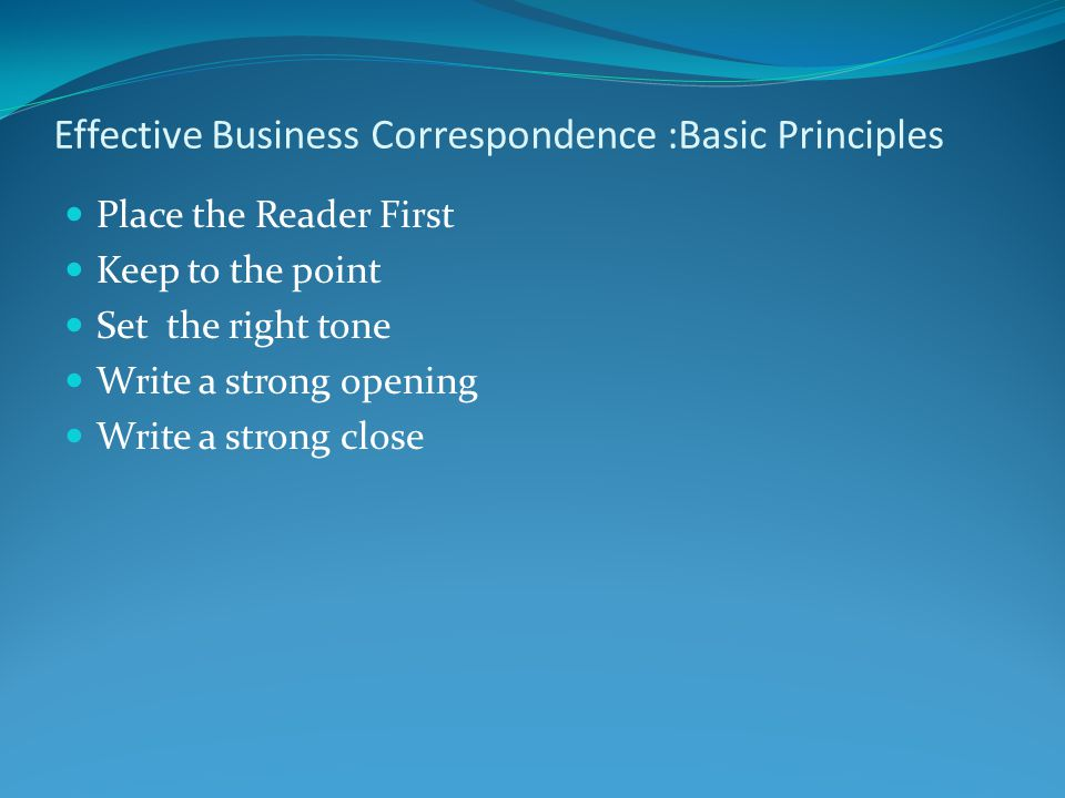 principles of business correspondence