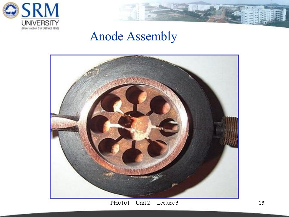 Anode Assembly PH0101 Unit 2 Lecture 5