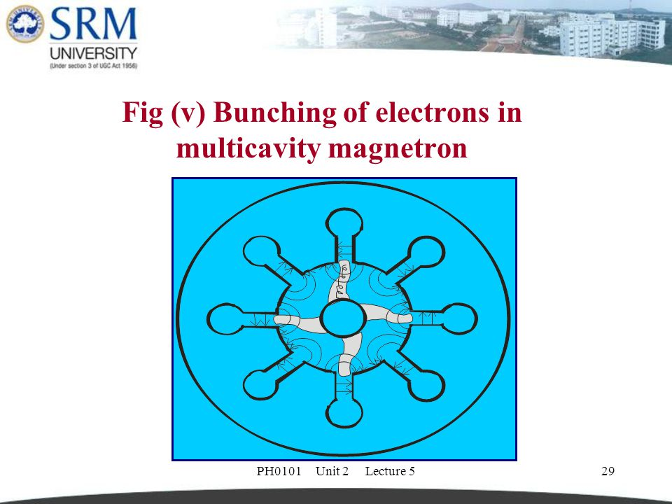 Fig (v) Bunching of electrons in multicavity magnetron