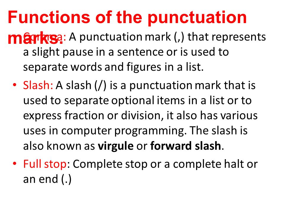 punctuation marks and functions
