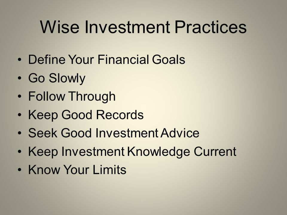 Wise investment practices belajar forex carigold