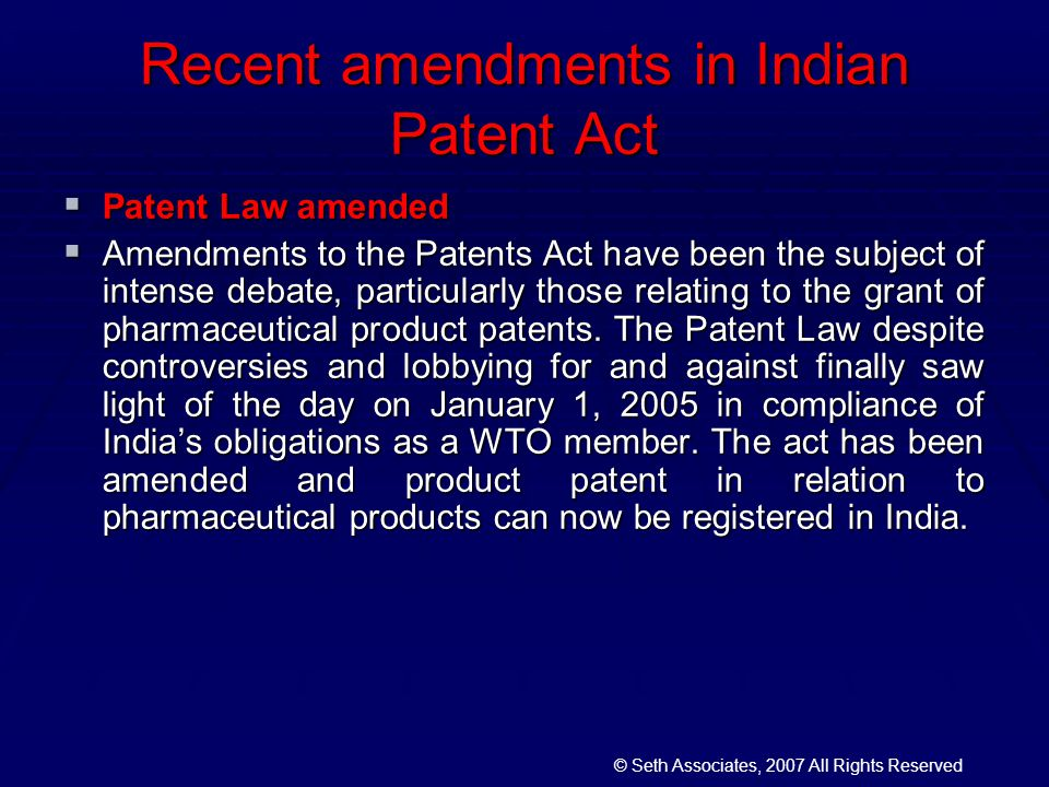 indian patent act Section 8 of the indian patents act, 19701 mandates applicant(s) filing an application for a patent in india to furnish information pertaining to applications for a patent for 'the same or substantially the same invention' filed in any country outside india.