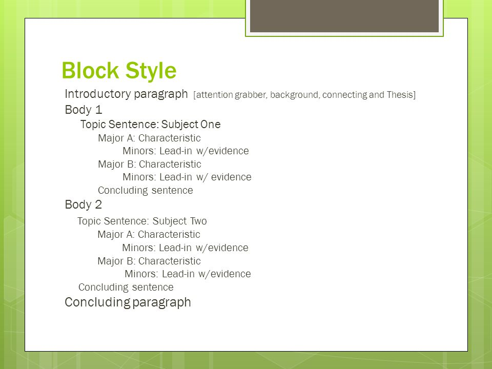Contrast essay block style guidelines in writing a good essay