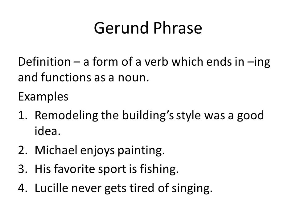 Verbal Phrase Definition And Examples