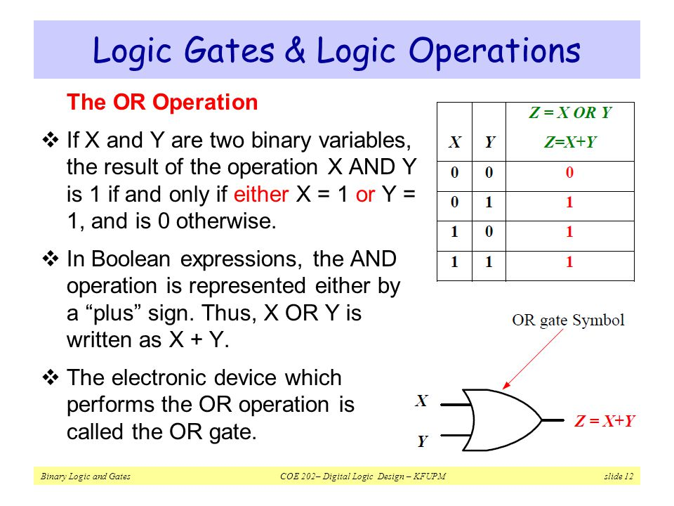 Logic Gates & Logic Operations