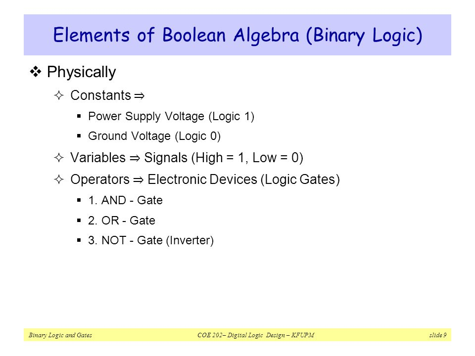 Elements of Boolean Algebra (Binary Logic)