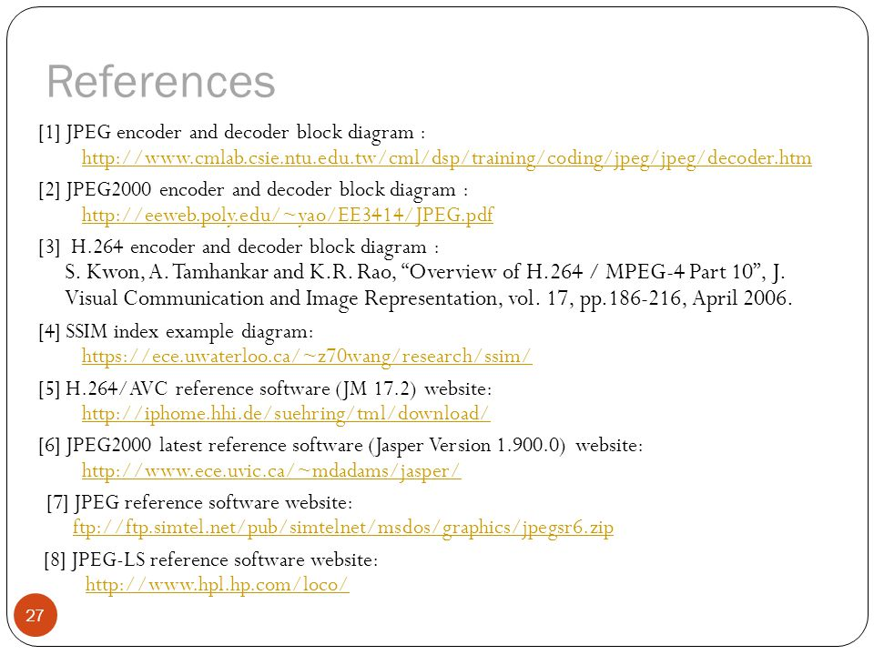 references [1] jpeg encoder and decoder block diagram :