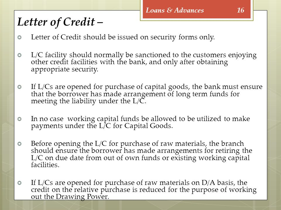 16 letter of credit
