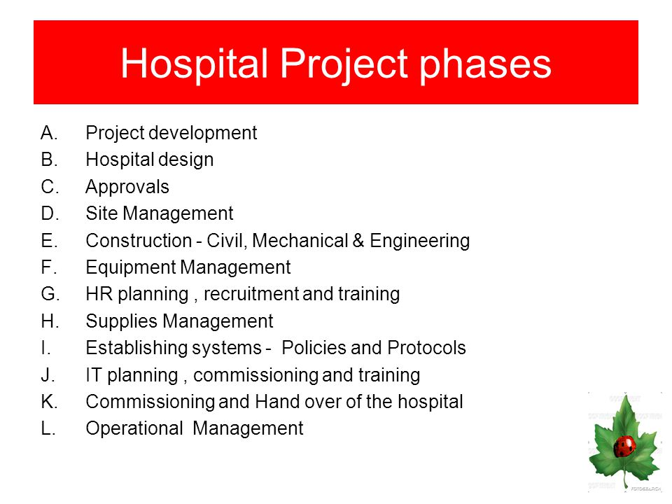HM 15: HOSPITAL PLANNING & PROJECTS - ppt download
