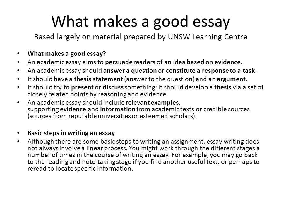 how to prepare and present high quality essays   ppt video online  what makes a good essay based largely on material prepared by unsw learning  centre