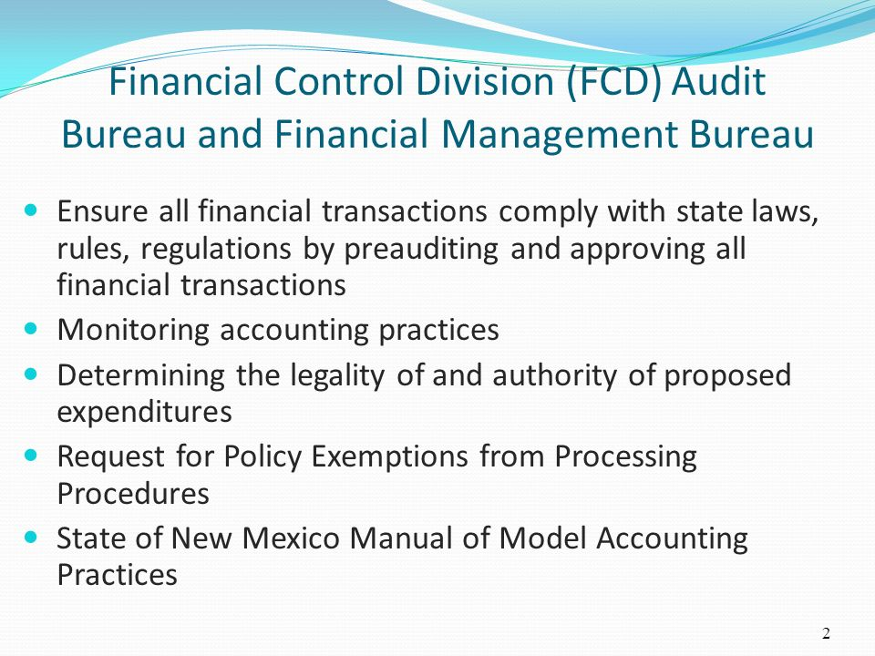 Financial Control Division (FCD) Audit Bureau and Financial Management Bureau