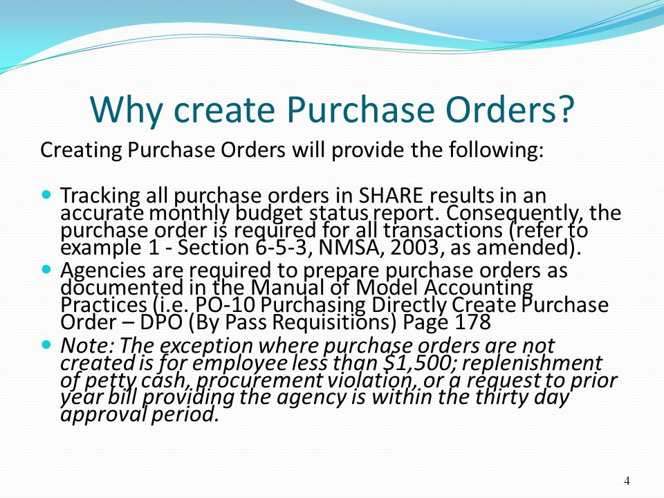Why create Purchase Orders