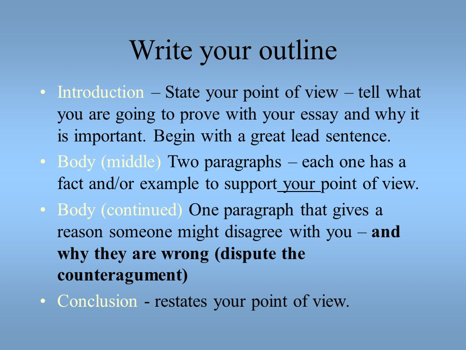 Write your outline